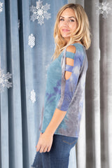 Leslie Ladder Sleeve Top in Blue