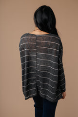 Lightweight Striped Pullover In Charcoal