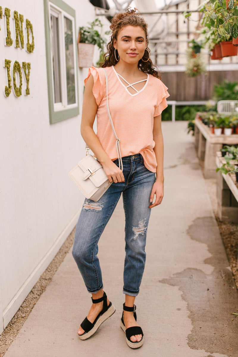 Out of Town Top in Apricot