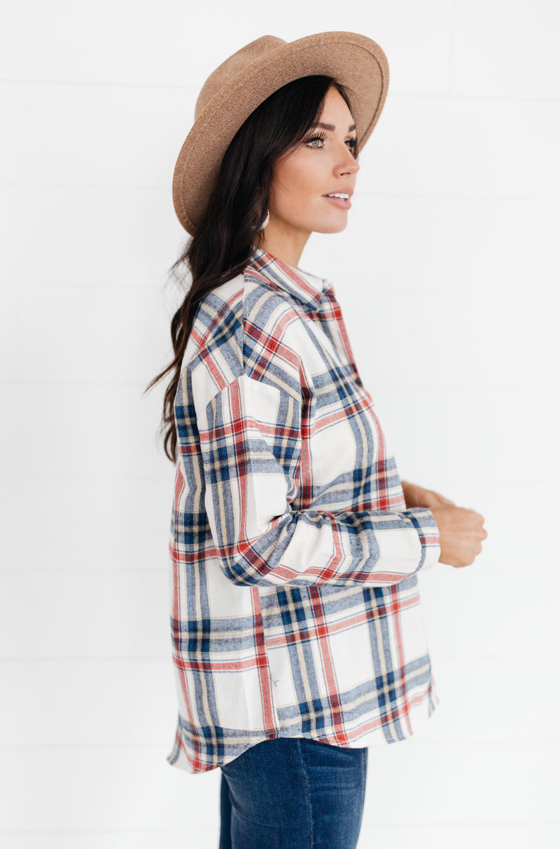 Pretty In Plaid Button-Up Top in Navy