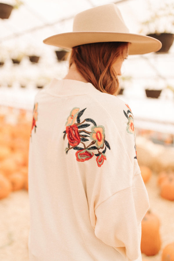 Shoulder Details Cream Cardigan