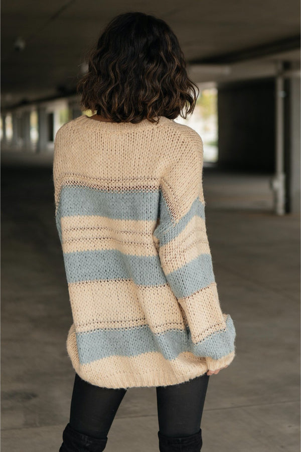 Straightforward Striped Sweater In Blue and Beige