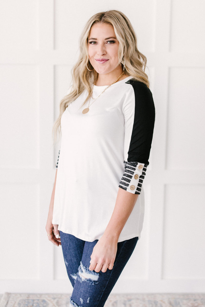 The Edge Of Stripes Top in White