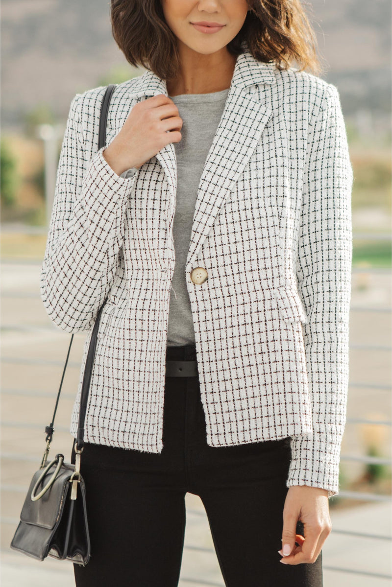 Tweedle Dee-lightful Tweed Blazer In Ivory