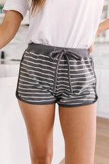 Varsity Stripes Bottoms in Charcoal