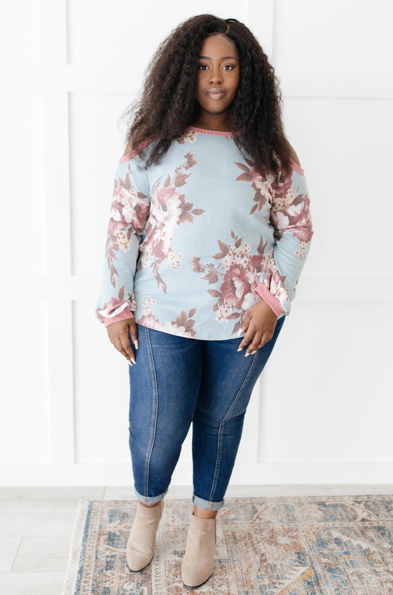 Waffle Meets Floral Top in Mint