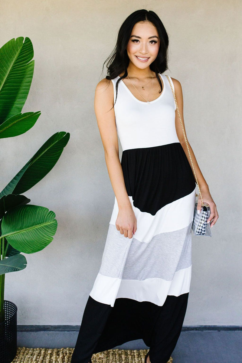 Chevron Skirt Tank Maxi Dress In Ivory