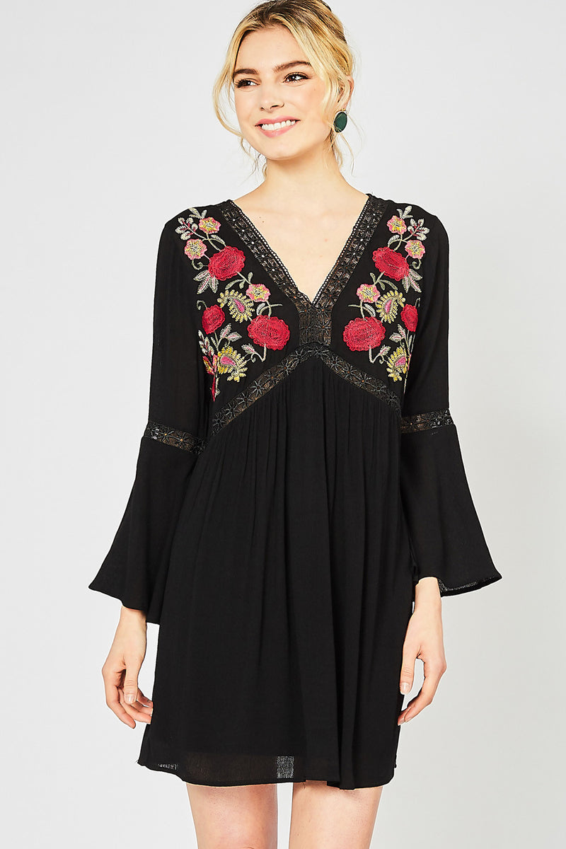 Sunday Brunch Embroidered Peasant Dress