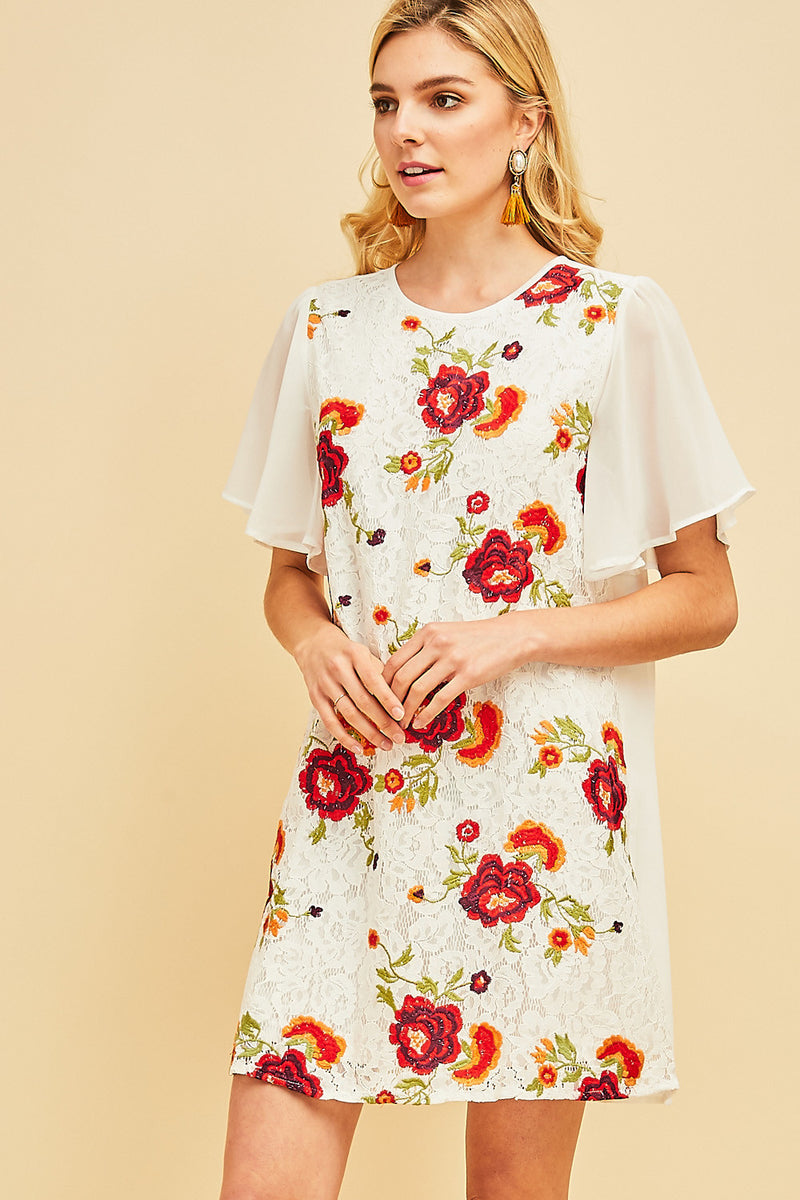 Where The Flowers Bloom Embroidered Shift Dress In Ivory