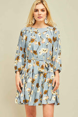 Autumn Harvest Dress In Dusty Blue