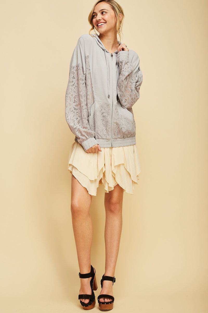 Sweet Escape Lace Jacket In Grey