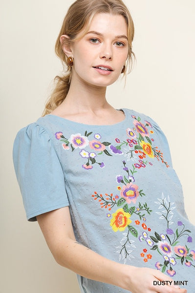 Miracle Mornings Embroidered Dusty Mint Top