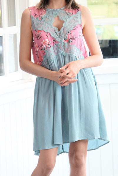 Mermaid Melodies Shift Dress In Sage