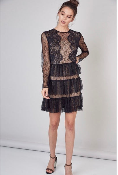 Heavens In Your Eyes Ruffle Lace Mini Dress