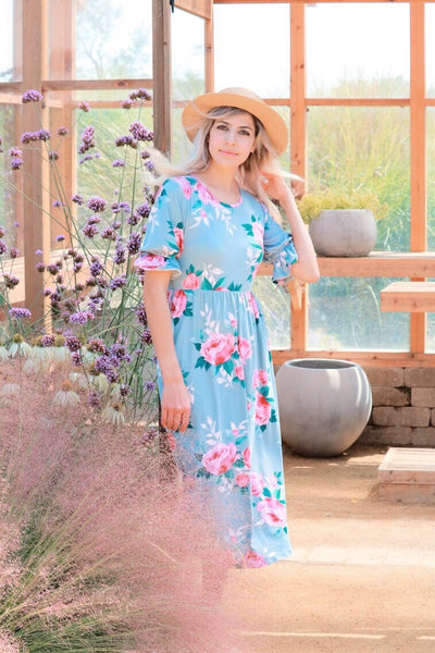 Rose Midi Dress In Powder Blue