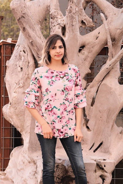 Sugar Garden Top In Dusty Pink