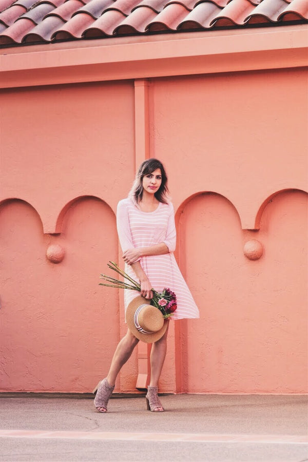 Timeless Love Striped Shift Dress In Blush