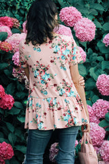 Blossom Peplum Top In Blush