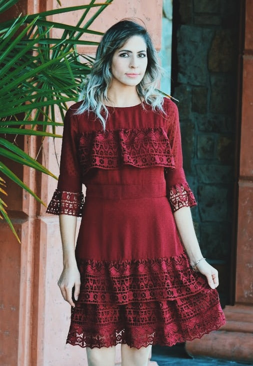 Fancy That Ruffle Dress In Rosewood