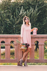 Timeless Love Striped Shift Dress In Peach