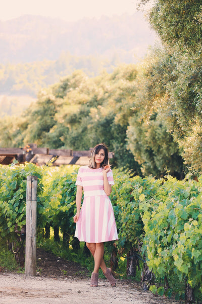 Sunset In Paris Striped Dress In Blush