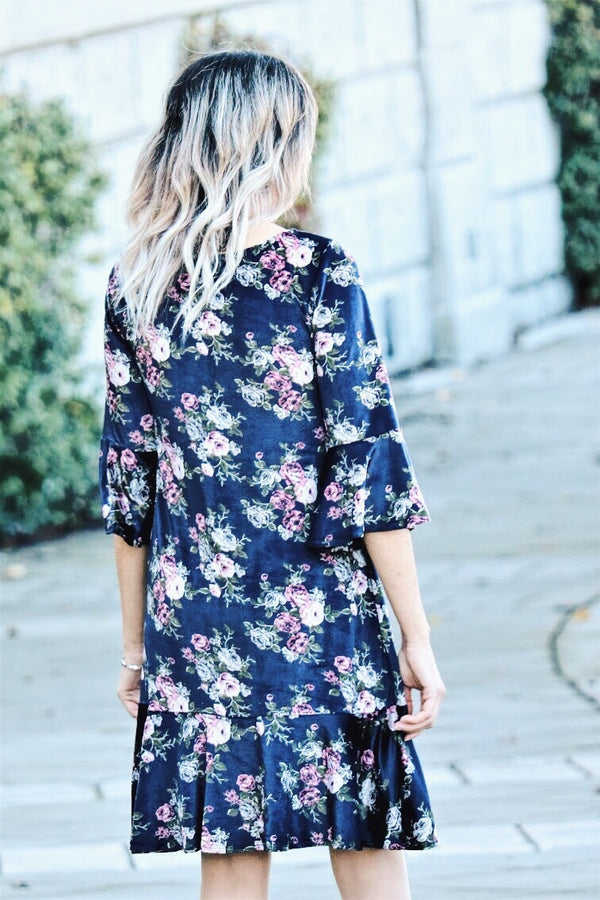 Set The Jewel Tone Floral Dress In Navy