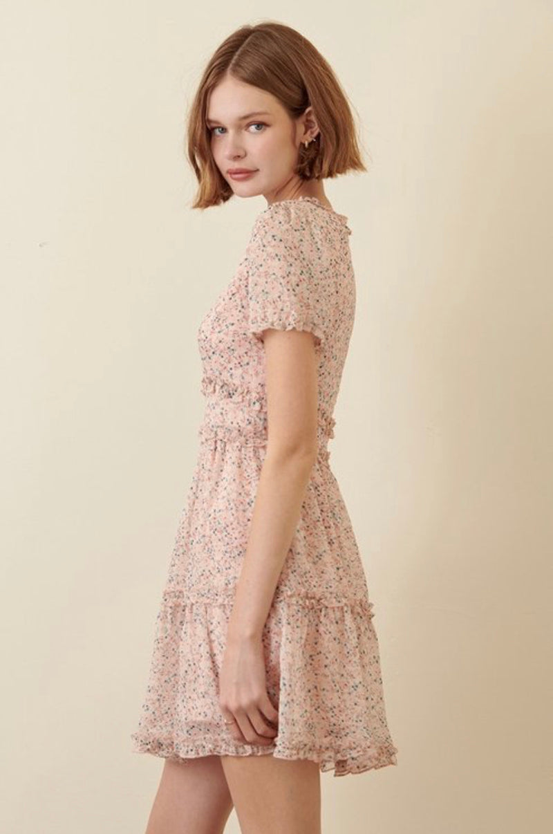 English Garden Ruffle Dress In Rose