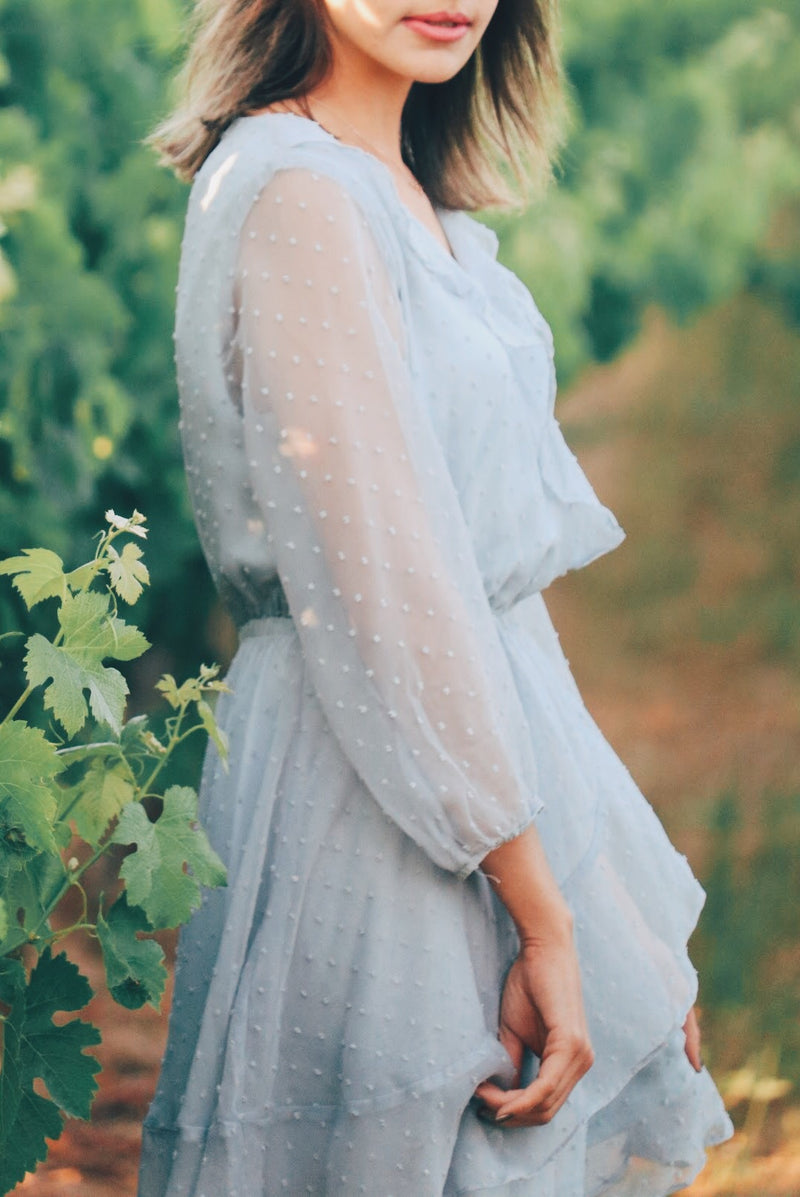 Sapphire Skys Chiffon Dress In Dusty Blue