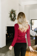 Layer Away Striped Turtleneck In Red