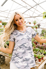 Pale Gray Camo Crisscross V-Neck