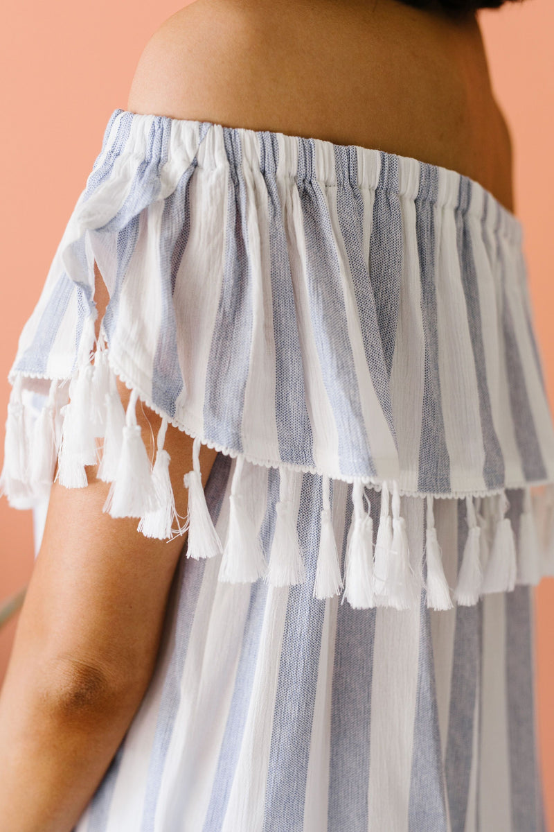 Stripes N Tassels Off Shoulder Blouse