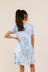 Swirl Tie Dye Dress In Aqua