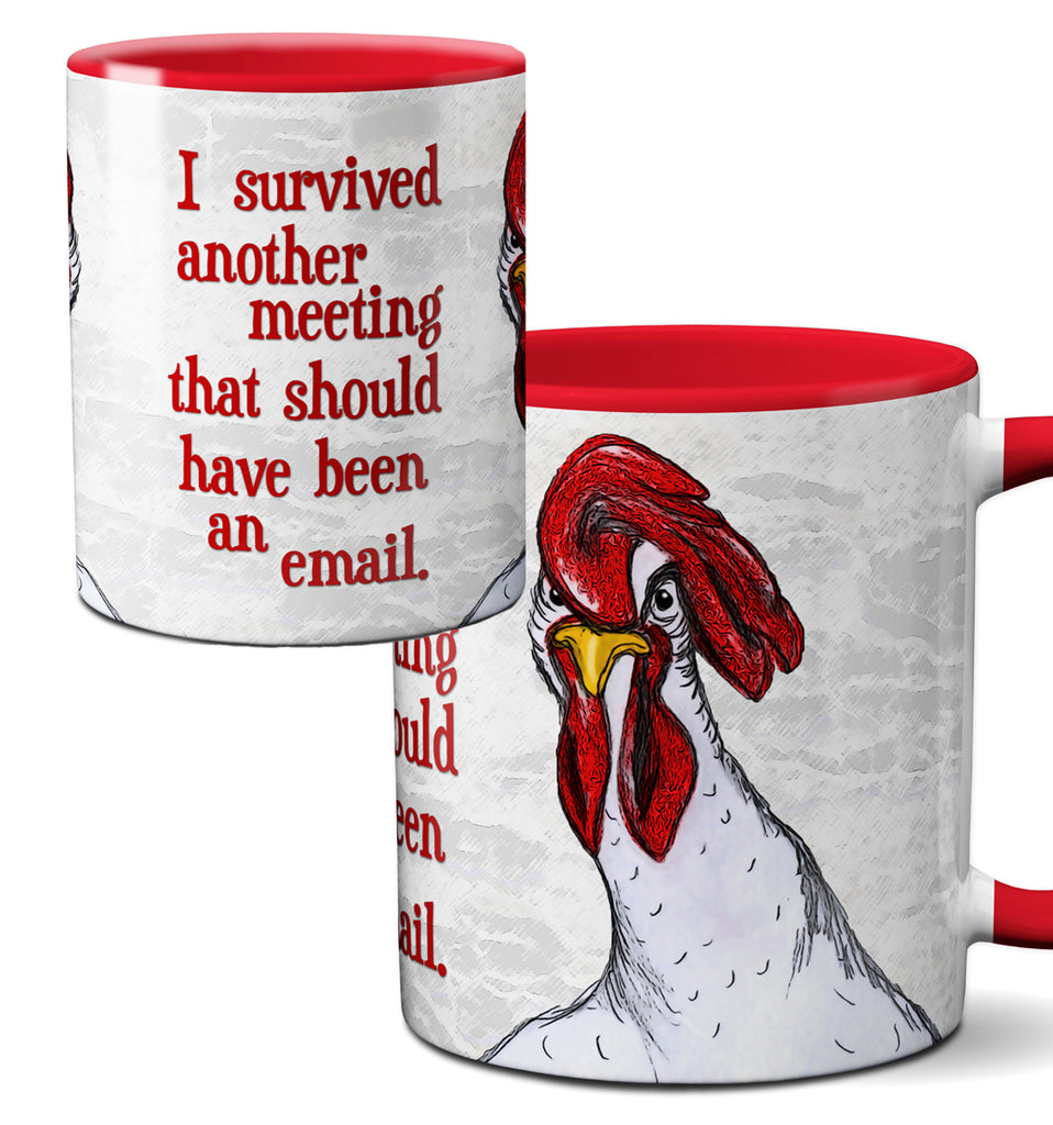 Chicken Meeting Funny Red Mug Cup