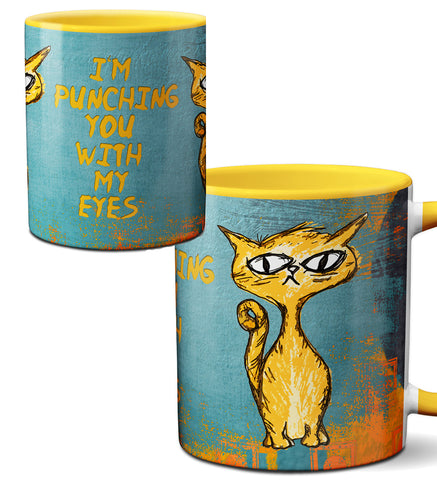Eye Punch Cat Funny Mug