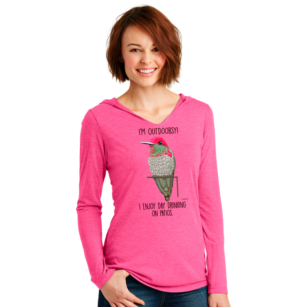 Hummingbird Patio Womens Long Sleeve Fuchsia Hooded T-Shirt