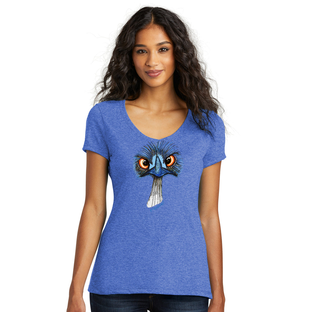 Pithitude Emu Womens Royal Blue V-neck T-Shirt