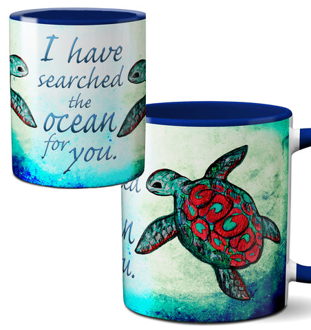 Searching Sea Turtle Blue Romantic Quote Mug