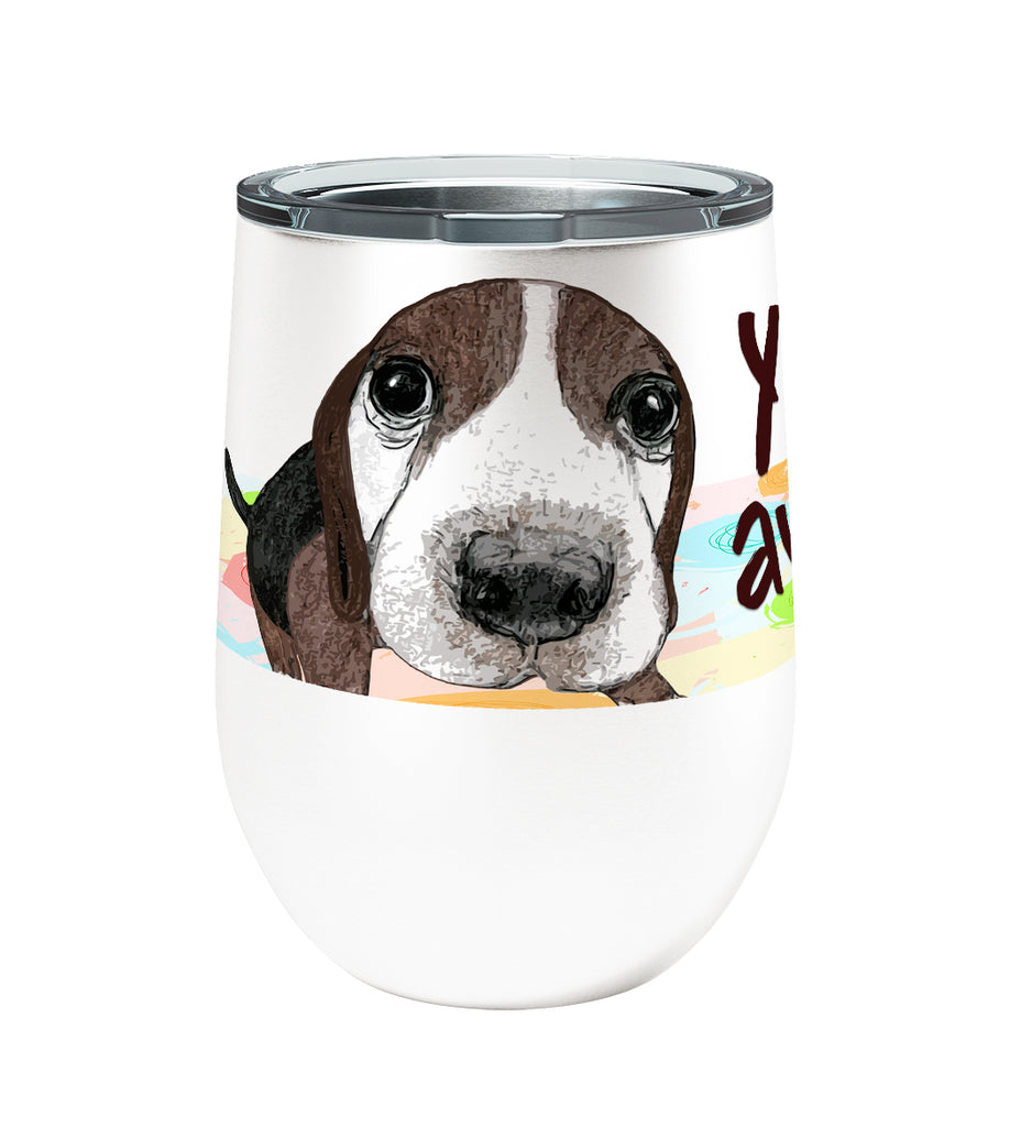 Beagle Awake 12oz Stemless Insulated Stainless Steel Wine or Coffee Tumbler