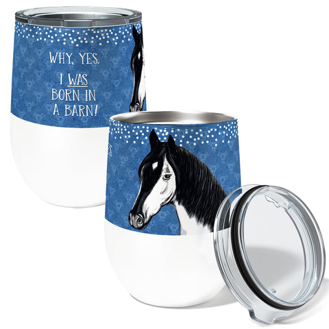 Barn Horse 12oz Stemless Insulated Stainless Steel Wine or Coffee Tumbler