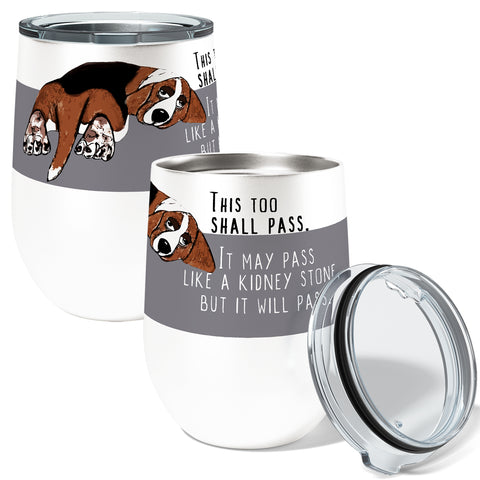 Basset Hound Beagle 12oz Stemless Insulated Stainless Steel Wine or Coffee Tumbler