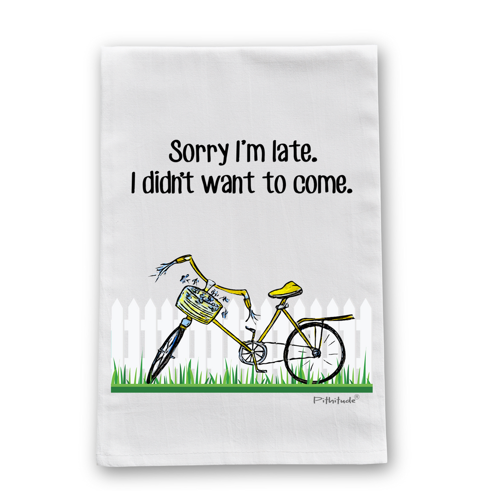 Sorry I'm Late Bicycle Flour Sack Dish Towel
