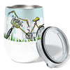 Bicycle Late 12oz Stemless Insulated Stainless Steel Wine Tumbler with Clear Lid
