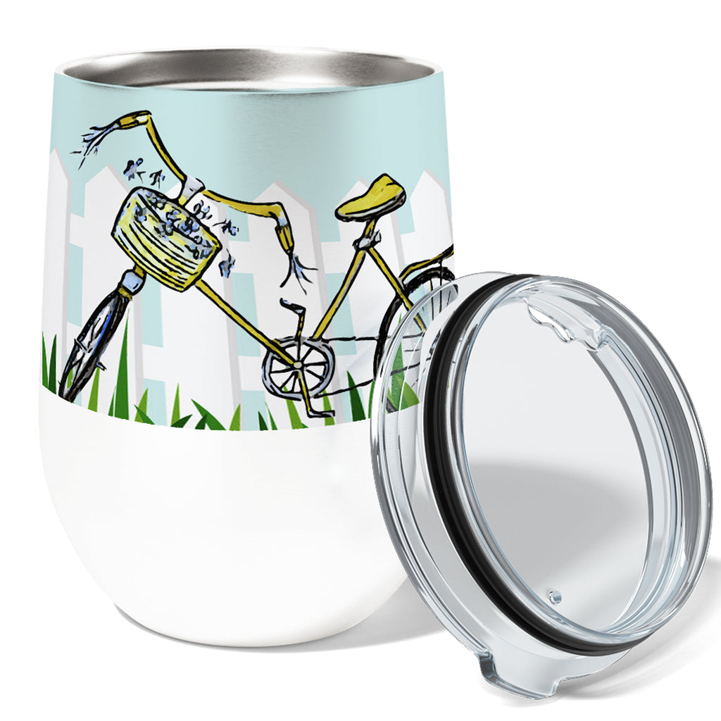 Late Bicycle 12oz Stemless Insulated Stainless Steel Wine Tumbler with Clear Lid