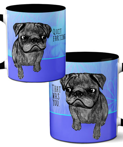 Black Pug Farting Mug by Pithitude