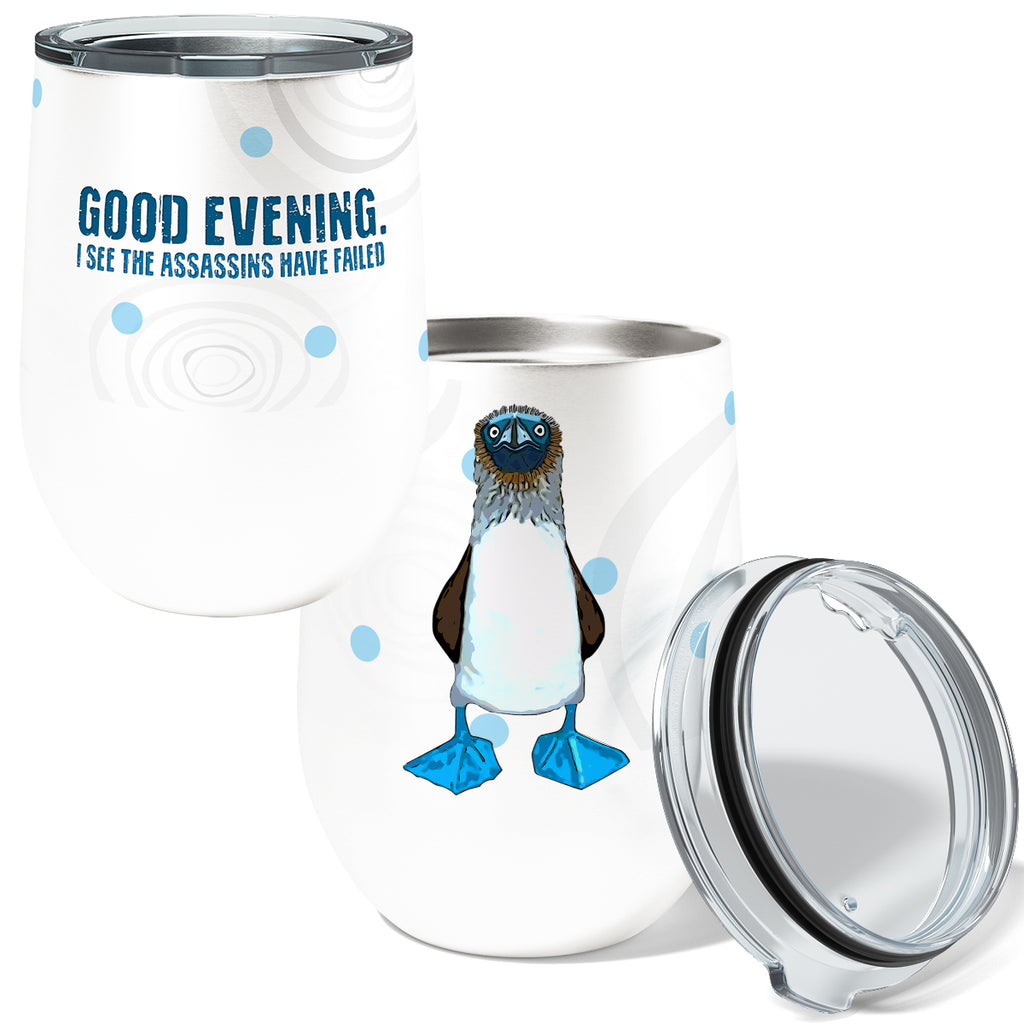Blue Footed Boobie Assassin 12oz Stemless Insulated Stainless Steel Wine Tumbler