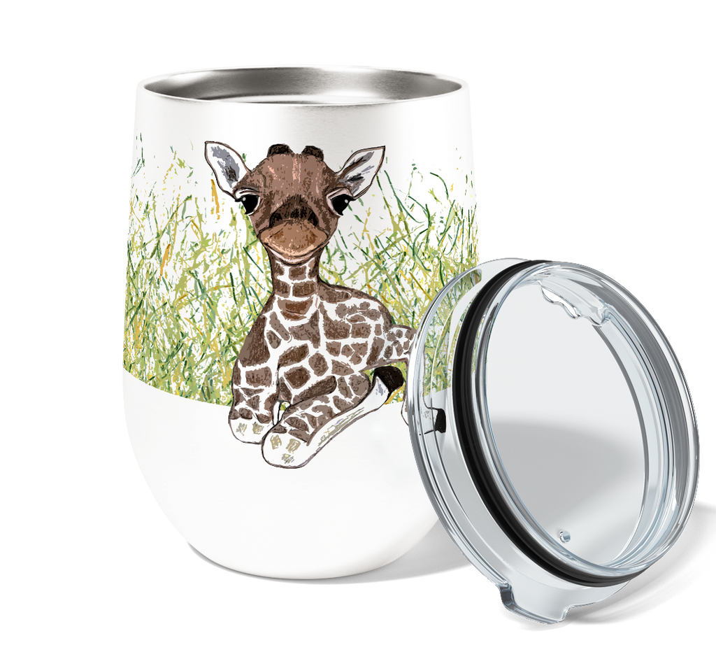 Calm Giraffe 12oz Stemless Insulated Stainless Steel Wine or Coffee Tumbler