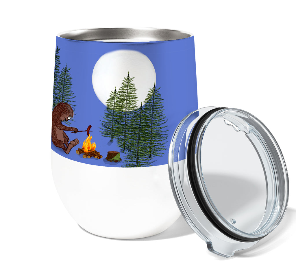 Sasquatch Campfire Buns 12oz Insulated Stainless Steel Wine or Coffee Tumbler with Clear Lid