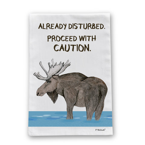 Disturbed Moose Flour Sack Dish Towel