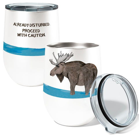 Disturbed Moose 12oz Stemless Insulated Stainless Steel Wine or Coffee Tumbler