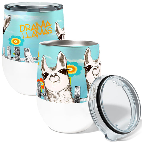 Drama Llamas 12oz Insulated Stainless Steel Wine or Coffee Tumbler